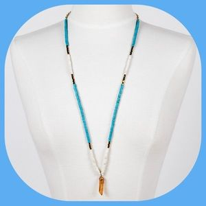 NWT Turquoise and Cream Necklace w/ Crystal-